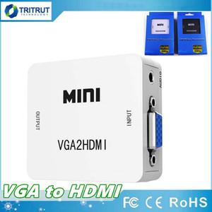 VGA to HDMI 1080P Mini VGA to HDMI Audio Video Converter VGA2HDMI Adapter Box With USB Charge cable Support HDTV MQ30