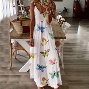 Butterfly Print maxi dress Women V Neck sleeveless Spaghetti Camisole Sexy Plus Size Long Dress Party Dress Mujer Vestidos 2020