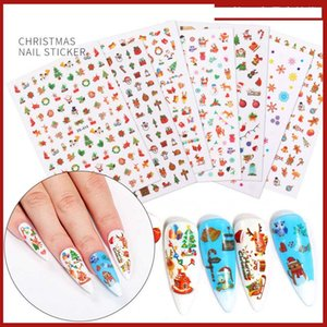 Halloween Christmas Nail Art Stickers 3D Nail Sticker Decals Manicure Christmas Tree Santa Claus Hat Socks Decoration