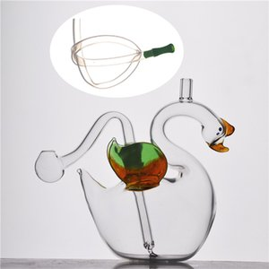 Beautiful Swan10mm Mini Glass Oil Burner Water Bong for smoking Ash Catcher Hookah Pipe with glass oil burner pipe and silicone tube