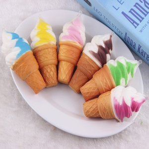 Cute Soft Jumbo Ice Cream Cone Squishy Slow Rising Cell Phone Straps Bread Antistress Scented Key Pendant Charms Kids Toys