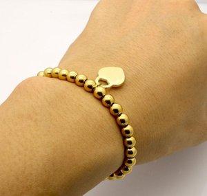 Ювелирные изделия из нержавеющей стали Мода Peach Bracte Bracte Bracelet Цепь на бисером Женщина Titanium Rose Gold Серебряный Манжету Браслет для BBYNTO NANA_SHOP