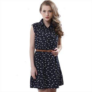 Fashion Summer New Women Shirts Dress Cat Footprints Pattern Show Thin Shirt Dress Casual Dresses With Belt designer clothes