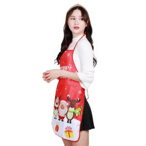 Red Christmas Aprons Adult Santa Claus Women Men Dinner Party Decor Home Kitchen Cooking Baking Cleaning Apron Navidad New Year