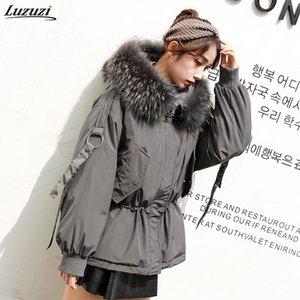 Luzuzi Large Real Raccoon Fur 2020 Women Winter Jacket Hooded Warm Female White Duck Down Jacket Medium Long Parkas Loose Women