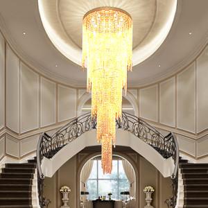 2021 DHL Neues Design Lange Moderne Kristall Kronleuchter LED-Licht 5 Schichten Luxushotel Lobby Kronleuchter