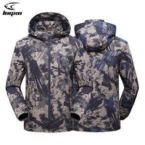 Jaqueta de chuva de lngxo Homens à prova d 'água caça roupas caminhadas camping camuflagem windbreaker tático goretex casaco ao ar livre casaco homens q1201