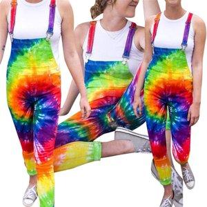 Tie Dye Womens Bib Calças Colorido Reta Casual Mulheres Jumpsuits Verão Moda Senhoras Macacões Calças