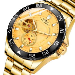T-Winner personalizado cronômetro automático de relógio mecânico masculino