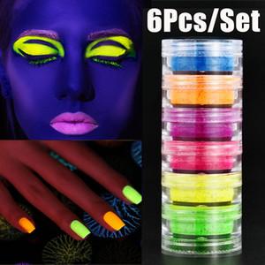 Neon Party poudre fard à paupières 6colors en 1 Set lumineux fard à paupières Nail Paillettes pigment fluorescent Poudre Manucure Nail Art