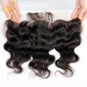 Lace Frontal Closure 8A Malaysian Indian Peruvian Cambodian Brazilian Virgin Human Hair Body Wave Closures Bleached Knots Ear To Ear 13x4 IN