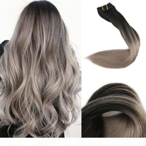 Ombre Clip in Human Hair Extensions #1B fading to #18 Ash Blonde Balayage Double Weft Clip on Hair Extensions 8pcs 120g