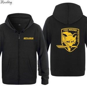 Mens Hoodie Games Metal Gear Solid FOX HOUND Hoodies Men Fleece Long Sleeve Zipper Jacket Sweatshirt Skate Fitness Tracksuit