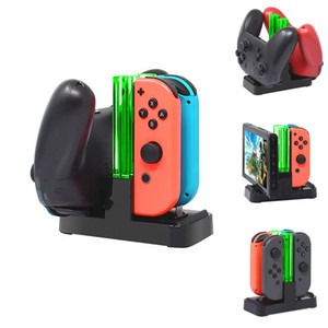 4 in1 شحن قفص الاتهام ل Nintend التبديل Joy-Con تحكم شاحن LED ل Nintendo Switch Pro Gamepad Charge Content NS Switch