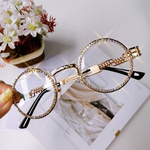 Fashion Round Diamond Sunglasses Women 2020 Steampunk Clear Lens Handmake Rhinestone Eyeglasses UV400 Gafas De Sol