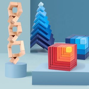 Creative Fashion Nordic Gradient Color Cube Blocks Ornaments Educational Building Blocks Stacked High Toys Wooden Toys Balancing Blocks
