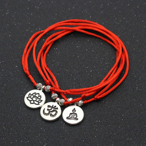 Silver Color Metal OM Lotus Charm Red Rope String Bracelets Anklets For Women Ankle Bracelet Woman Sandals On the Leg Chain Foot Jewelry