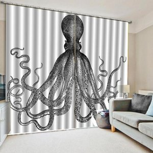 Customized size Luxury Blackout 3D Window Curtains 3D Window Curtain fish print Luxury Blackout For Living Room