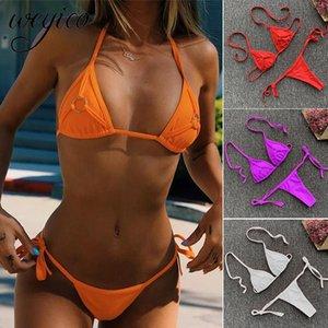 Sexy Women Bikini Set Swimsuit Solid Ring Decoration G String Bathing Suit Micro Bikinis Push Up Beachwear Bodysuit Swimwear