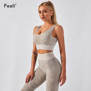 Yoga Outfits Peeli Snake Print Sports Bra And Leggings Set Fitness Wear 2 Piece Workout Clothes For Women Athletic Gym