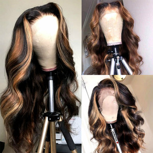 Highlight Wig Brazilian Body Wave Wig Burgundy Lace Front Wigs 1B 27 Ombre Human Hair 180 Density Remy Wigs Natural Hairline