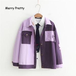 Merry Pretty Mujeres Carta Bordado Básico Invierno Manga Larga Patchwork Bolsillos Vintage Denim Jackets Outerwear Abrigos