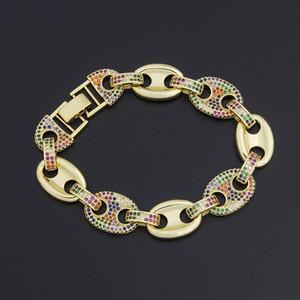 Nouveaux bracelets de chaîne de design Bracelets Gold Couleur Micro Pave CZ Rainbow Bracelet Bijoux pour Femmes Girls Party Wedding Cadeau 201209