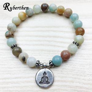 Ruberthen New Design Amazonite Bracelet 2020 Fashion Women`s Buddhist Male Bracelet Wrist Mala Healing Trendy Jewelry