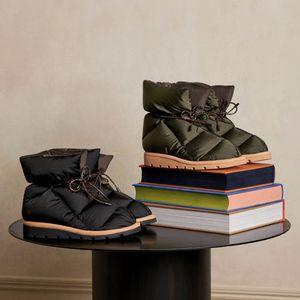 Venta caliente- Mujeres Botas de tobillo Mujeres suave Down Shoe Designer zapatos planos impermeables Nylon Botas de invierno superior Grande
