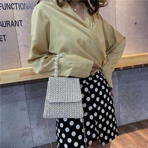 Women Straw Hand Bags Fashion Wild Pearl Woven Messenger Bag Women Small Square Shoulder Bags Fashion Crossbody 20