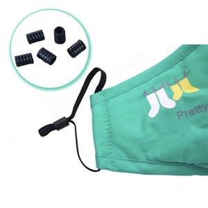 Cord Lock White Black Soft Plastic Silicone Round Elastic Mask Adjustment Buckle Adult Children Elastic Adjustment Accessories