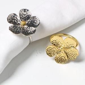 Düğün Basit Erik Napkin Peçete 5 Yaprakları Şanslı Çiçek Yüzük Yüzük