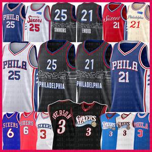 Allen 3 Iverson Joel 21 Embiid Ben 25 Simmons Basketball Jersey Julius 6 Erntes Mens Jugend Kinder Philadelphia76er.Trikots 2021 NEU.
