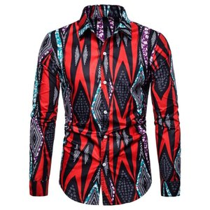 Streetwear Printed Men Shirt Casual Cotton Polyester 3D Vintage Fit Slim Long Sleeves Mens Shirts Blouse Camisa Chemise Homme