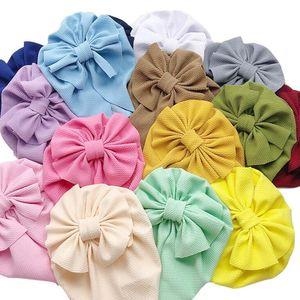 Луки Узел Newborn Hat Детская Детская Ткань Мягкая Хеджировка Шапочка Сплошные Цвета Шляпы Девушка Пуловер Cap HWC5830