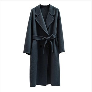 Autumn Winter wool coat Single breasted Maxi coat 201102