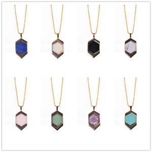 Brand Hexagon frame Natural stone Pendant Necklace Turquoise Tiger eye lapis lazuli pink Rose Quartz Inlay Chakras Jewelry for women