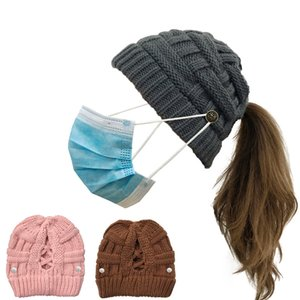 Cool Design 8 Colors Wear Mask Button Caps Handmade Womens Keep Warm Winter Knitted Hair Band Empty Head Hat