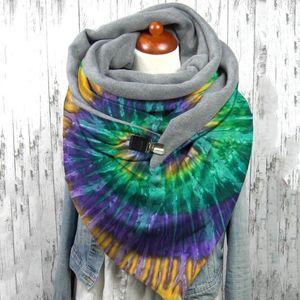 Women Scarves Winter Warm Wraps Ladies Elegant Soild Dot Printing Button Soft Wrap Casual Warm Scarves Shawls Female Scarfs