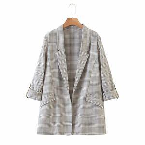 Evfer Women Casual Plaid Print Loose Autumn Cotton Long Blazer Outwear 2020 New Office Lady Elegant Roll Cuff No Button Blazers B1203