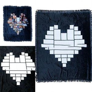 Сублимационные пустые зимние шерстяные одеяла Любовь Сердце Черное квадратное одеяло Мужчины Женщины бытовой коврики Сохраняйте теплый 66Ex4 P2