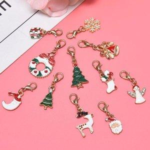Weihnachtssocken Baum-Charme-Emaille-Anhänger Ornamente Korne für Ohrringe Halskette DIY Schmuck