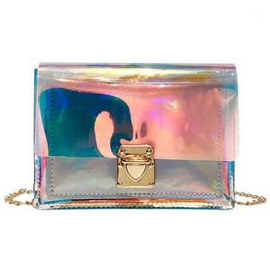 2019 laser pvc geléia crossbody bolsa transparente cor de doces mulheres bolsa de moda laser bolsas de ombro sac transparente femme1