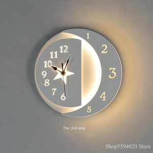 New Led Acrylic Clock Wall Lamp Bedroom Modern Simple Stairway Balcony Children's Room Bedside Lamp Modern Wall Light Sconce
