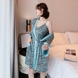 Sexy Leopard Print 2PCS Kimono Robe Gown Sets Bathrobe&Strap Top Nightgown Sleep Suit Lady Sleepwear Spring New Lounge Home Wear1