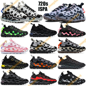 720s ISPA Erkekler WPMen Koşu Ayakkabıları Üçlü Beyaz Siyah Metalik Gümüş Volt Yastık Eğitmenler Orta Gece Donanması Zirvesi Beyaz Pembe Sneakers Etiketi