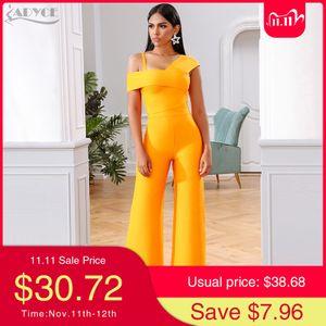 Adyce 2020 New Summer Orange Two Pieces Sets Sexy Spaghetti Strap Short Sleeve Top& Long Pants Women Fashion Club Party SetsA1111