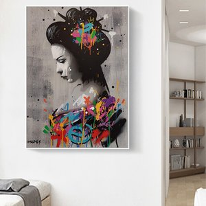 Hand drawn sexy woman color doodle Oil Painting on Canvas Posters and Prints Cuadros Wall Art Pictures For Living Room