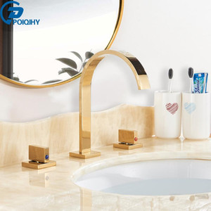 Gold Brass Basin Faucets Chrome Black Dual Handle Widespread Basin Faucet for Bathroom 3pcs Kit Deck Mounted Hot Cold Mixer Taps
