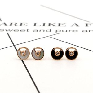 TYME Stainless Steel Black and white shells with stone stud earrings female fan titanium Rose Gold color Earrings for women